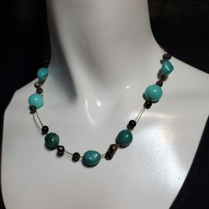 Cookie Lee Blue & Gray Mutli-Strand Necklace